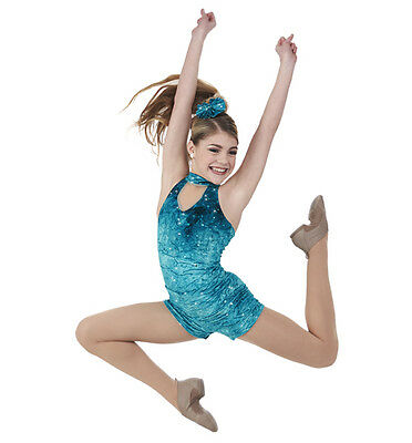 Blue FALLING WATERS JAZZ ACRO TAP DANCE COSTUME CHILD EXTRA SMALL