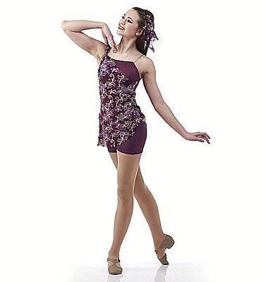 Child 6X7 Plum Floral Acro Contemporary Ballet Biketard Costume Dance