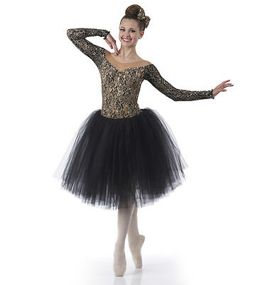 Für Erwachsene, Großes Romantische Ballett Tutu Tanzkostüm Gold & Schwarz