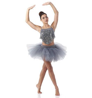 Neu Silber Ballett Tutu Tanzkostüm Contmeporary Chained Erwachsene M