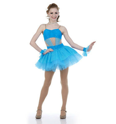Turquoise Everybody Talks Jazz Ballet Costume Dance Groups AS,AM,AL,AXL,2XL