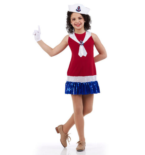 Anchors Aweigh Dance Costume Sailor Tap Red White & Blue Dress Child & Adults