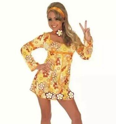Costume Womens Orange 60s Hippie Paisley Festival Fancy Dress Costume Yellow - Paisley Womens Kostüm