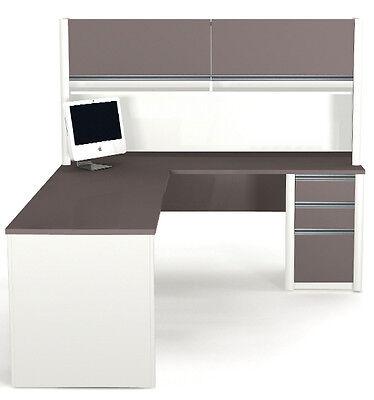 Bestar Connexion L Shape Office Desk W Hutch In Sandstone Slate - 93859-1559
