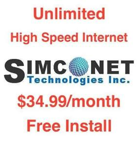 Unlimited High Speed Internet, $0 Install $0 Dry Loop, Monthly $34.99, No Contract