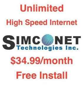 Unlimited High Speed Internet, $FREE 1st month, $0 modem $0 Install, No Contract, $34.99/month