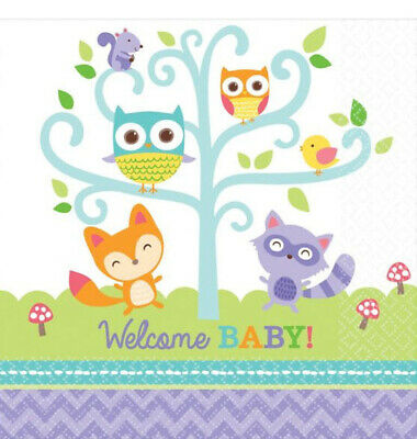 WOODLAND ANIMALS WELCOME BABY Shower lunch dinner PAPER NAPKINS 16pcs 2 ply Baby Shower Lunch Napkins