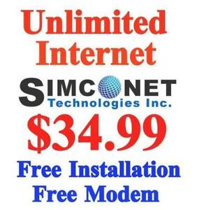 Unlimited High Speed Internet, $FREE $0 modem $0 Installation  Monthly $34.99, No Contract