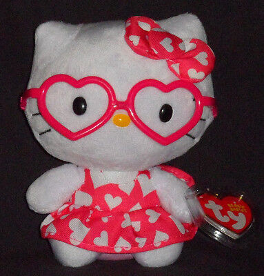 TY HELLO KITTY with HEART DRESS  / GLASSES BEANIE BABY - MINT with MINT TAG](Baby With Glasses)