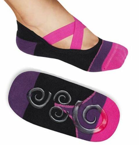 Lupo Non Skid Slip Crossover Yoga Pilates Barre Grip Socks Medium M 4.5-8 34-37