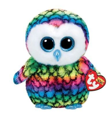 "Rainbow Owl 6"" Ty Beanie Boos Puppy Glitter Big Eyes Plush Stuffed Animals Toy"