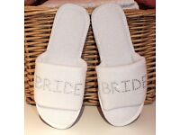 Brand new white Bridal Slippers with embellishment - Size 3-4.