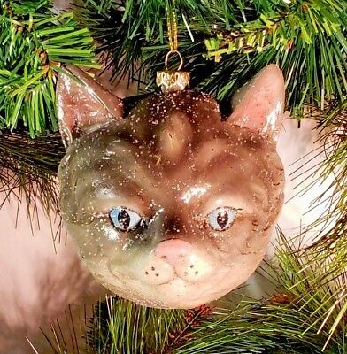 *SAMPLE SALE* CAT HEAD LIGHTWEIGHT CHRISTMAS ORNAMENT 4