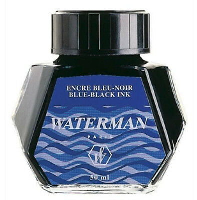 Waterman  Blue - Black Ink In Bottle New In Box Best Ink  50Ml Old