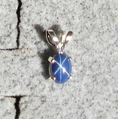 Linde Lindy Cornflower Blue Star Sapphire Created 925 Sterling Silver Pendant
