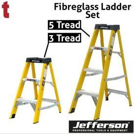 JEFFERSON 3 & 5 TREAD FIBREGLASS STEP LADDER BUILDERS ELECTRICIANS
