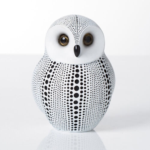 Black & White Resin Debossed Dotted Owl Collectible Contemporary Bird Design