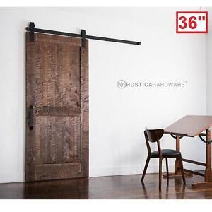 "NEW RUSTICA HARDWARE SLIDING DOOR - 120380023 - 36"" x 84"" STAIN GLAZE CLEAR ROCKWELL BARN DOORS WOOD INTERIOR CLOSET ..."