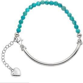 H.Samuel Hot diamonds edition turquoise beaded bracelet with charm & single authentic diamond