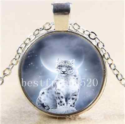 Snow Leopard And Moon Cabochon Glass Tibet Silver Chain Pendant  Necklace