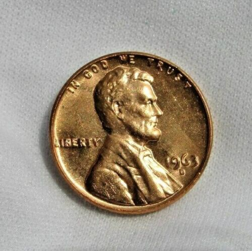 1963 D LINCOLN MEMORIAL CENT BEAUTIFUL RED BRILLIANT UNCIRCULATED ( BU )