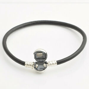 BLACK SMOOTH LEATHER CHARM BRACELET 19CM  Sterling Silver Clasp