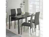 Hygena Black Glass Dining Table 4 Chairs