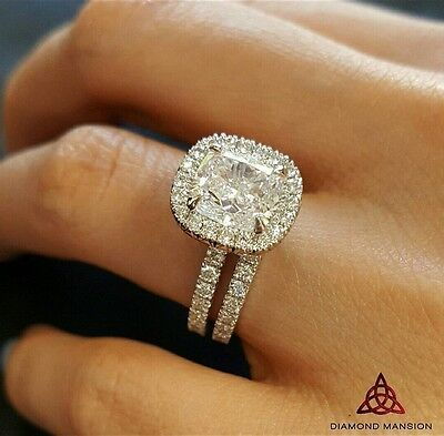 2.00ct Natural Cushion Halo French Pave Diamond Engagement Bridal Set - GIA