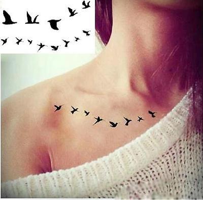 Removable Stickers Body Art Arm Temp Tattoos Waterproof--Tiny Black Birds 2