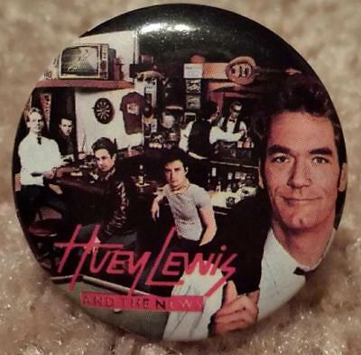 Huey Lewis & the News Sports Button Pin  ~ Vintage 1983