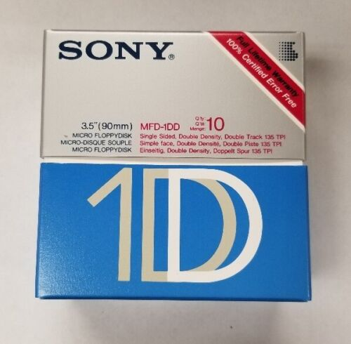"SEALED Box 10 SONY 1S Single Sided Double Density  3.5"" Floppy Disks SS/DD"