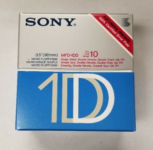 "NEW SEALED Box 10 SONY 1S Single Sided Double Density 3.5"" Floppy Disks SS/DD"