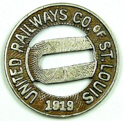 1919 UNITED RAILWAYS CO of ST. LOUIS Missouri Transportation Token MO 880 M WM