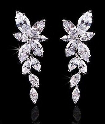 Cubic Zirconia Cluster Earrings - Wedding Cubic Zirconia Cluster Plated Pierced Earrings 3 Colors 2004E
