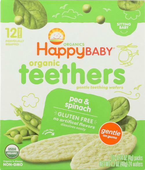 HAPPY BABY-ORGANIC TEETHERS, PEA AND SPINACH, Pack of 6 ( 1.7 OZ )