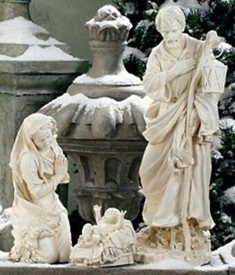 Outdoor Nativity Set Best Yet! 27.5 inch White Garden Yard Durable Resin 3pc Set (Nativity Outdoor Sets)