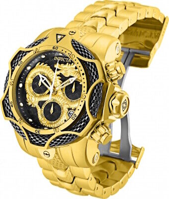 Invicta Mens 52MM Venom Gen III Dragon Gold-Tone Gunmetal Dial SS Bracelet Watch