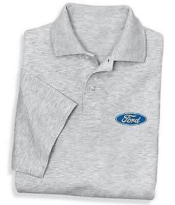 Mens gray Ford polo shirt gray collared shirt buttons dress shirt golf shirt tee