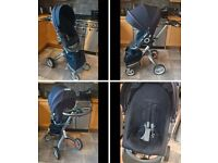 STOKKE XPLORY STROLLER IN NAVY INC CUP HOLDER - GOOD CONDITION MUST VIEW