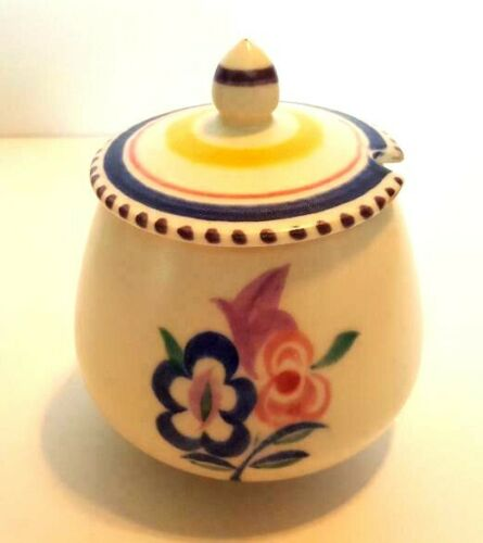Small Poole Potter Covered Pot with Delightful Colors