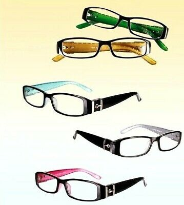 Modische Lesebrille Lesehilfe Brille mit Rand Schwarz Grün Pink Baby Blau Gelb