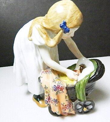 Vintage MEISSEN Konrad Hentschel Figurine - GIRL WITH DOLL CARRIAGE