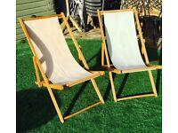 Wooden DECK CHAIRS -RARE- Great condition- Glamping/Garden/Beach/Decking