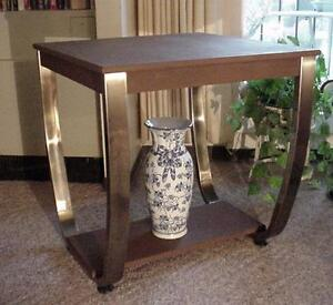 Mid Century Japanese Art Deco Wood and Burnished Brass U-base Hall table