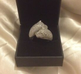 Sterling Silver Double Panther Head Ring