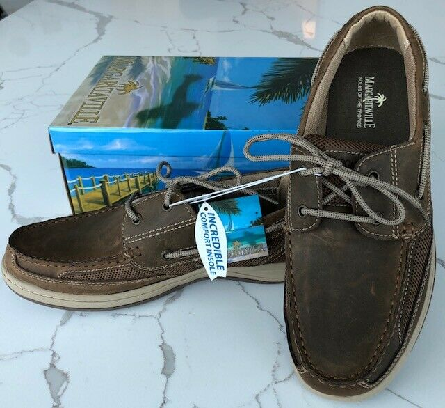 New Men's Margaritaville Brown Navigator Boat Shoes US Size 10