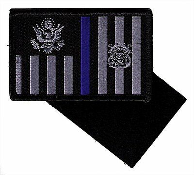 HOOK/LOOP Coast Guard ensign 3.5x2.3 black/gray with blue line W5522V USCG patch