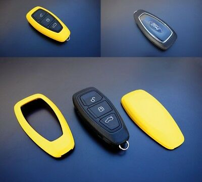 Ford Remot Power Key Free Keyless Go Cover Case Skin Shell Fob Protection Yellow