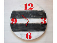 Pallet Wood Wall Clock Retro Red Old Style Art Industrial Vintage Rustic Shabby