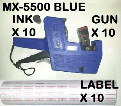 Mx-5500 8 Digits Blue Price Tag Gun 5000 White With Red Lines Labels 1 Ink X10